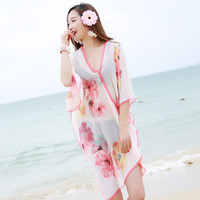 Wholesale Large Sarongs - Wholesale- 2017 New Summer Cover up Large Pareos Chiffon Wrap Shawl Bikini Beach Sarongs For Women Poncho sjaal Scarf Sunscreen Clothing