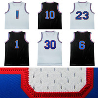Wholesale Blue Red Movies - Men tune squad jersey 6# #1 #2 #10 #30 !# 22# 23# jordan james curry air dunk movie throwback basketball jerseys 100% stitched