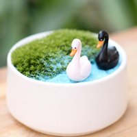 2PCS / set Cute Love White Black Swan PVC artigianato decorazioni Mini Animal Decor Cartoon bambole Paesaggio Ornamento Fairy Garden