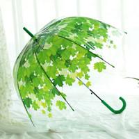 Wholesale Yellow Umbrella Sale - Rain Transparent Umbrella Maple Leaf for Women Men Fashion Clear Orange Yellow Blue Green Hot Sale New