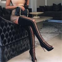 sandales à talons hauts zip achat en gros de-2017 Printemps Sexy Girl Gladiator Noir PU Faux Suede Lace Up Strappy Peep Toe Thigh High bottes femmes Chaussures à talons hauts Sandales