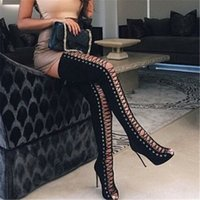Wholesale Girls Boots Leather Sexy - 2017 Spring Sexy Girl Gladiator Black PU Faux Suede Lace Up Strappy Peep Toe Thigh High boots women High Heels shoes Sandals