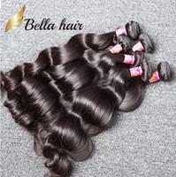 işlenmemiş insan saçı doğal dalgalı toptan satış-5 Demetleri Işlenmemiş Hint İnsan Saç Örgüleri Doğal Siyah Renk Dalgalı Vücut Dalga Saç Uzantıları Ücretsiz Nakliye Bella Saç