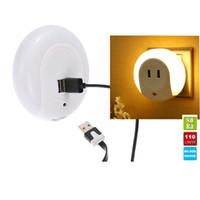 ingrosso videocamera a muro-Smart Design LED Motion Night Light con sensore automatico di luce Dual USB Wall Plate Caricabatterie Presa Lampada morbida per bagni Decorazioni per camere da letto