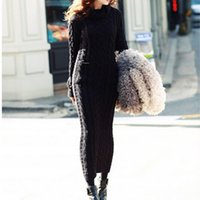 Wholesale Maxi Dress Free Size - New Maxi Knitted Sweater Dress Bodycon Long Sleeve Wool Turtleneck Pencil white korean plus size free shipping