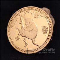 Wholesale People Monkeys - Exquisite 2016 Year of the Monkey Lunar Zodiac Gold Plated Coin collection Token