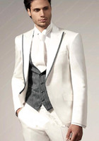 Wholesale Morning Suit White - Custom Made White Suits Lapel wedding suits Tailcoat Tuxedo groom suits morning jacket Groom Tuxedos Business Jacket+pant+vest+tie)