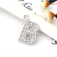 Wholesale B Component - B Crystal Letter Heart Floating Charm for Glass Living Memory Locket Jewelry Findings Components