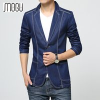 MOGU Denim Blazer Men 2017 Spring New Fashion Casual Blazer Jean Coats для мужчин Slim Fit Suits Азиатский размер S-3XL Мужская куртка
