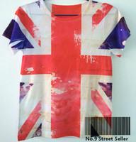 Wholesale Britain Flag Shirt - Track Ship+Vintage Retro Modern Cool Rock&Roll Punk T-shirt Top Tee United Kingdom England Britain National Flag Union Jack 0058