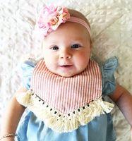 Wholesale Newborn Girl Burp Cloths - INS baby Girls Bibs New Cotton tassels stripe Newborn Burp Cloths Floral Printed Infant Burping Cute Polka Dot Girl Bib C1501