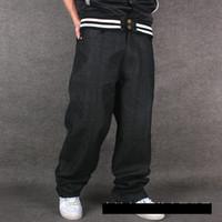 vaqueros hiphop de salto al por mayor-Pantalones vaqueros al por mayor sueltos de hip hop hombres pantalones vaqueros impresos Mens vestido yardas grandes marea pantalones rectos hip-hop hip hop HIPHOP ropa flocado