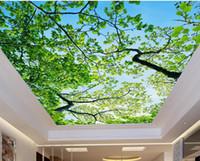 tela para pintar árboles al por mayor-Papel pintado 3d en el techo cielo azul ramas papel tapiz de techo 3d para cuartos de baño paisaje estereoscópico techo