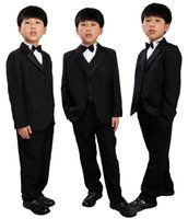 Wholesale Tuxedo Party Suit - 5 Pcs Infant Toddler & Boy Formal Children Tuxedo Wedding Party Suit Black Boys Suits