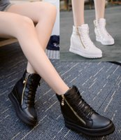 Wholesale Wedge Ankle Wool Boots - New Free shipping zipper white black lace-up inside Increased 3 cm PU Add wool Ankle boots