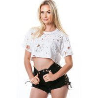 Wholesale Top For Women Design - New T Shirts Tops for Women Solid Novelty Design Summer Crop Top Casual Girl Tee Shirts Plus XL Black White