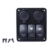Waterproof 3 Gang Car Switch Panel LED Rocker avec 2 USB Socket Cigaretter Plug pour Marine / Boat / Rv 12V Freeshipping Le plus récent