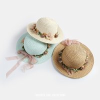 Wholesale Summer Baby Straw Hat - New Fashion Girls Beach Hats Caps Holiday sun hat Summer Baby Princess Girl Cute Bowknot Kid Sun Flower Straw Hat Children Cap A6607