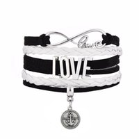 Wholesale Infinity Hope - DIY Infinity Charm Bracelets Antique With RHODE ISLAND HOPE Message Round Charm Black Pink Multi-layer Braided Bracelet