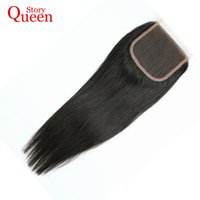 Wholesale Part Story - Wholesale- Queen Story Free Part Lace Closure Malaysian Straight Remy Hair 100% Human Hair Natural Color 10-22 Inch Free Shipping