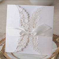Wholesale Elegant White Lace Flower Wedding Invitations Luxury Laser Cut Flora Ribbon Invitation Cards with Envelopes PK838_WH
