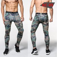 Wholesale Blue Gray Camo Pants - Free shipping Camouflage Men Compression Tights 2017 New Camo Pants Skinny Leggings Clothing Pants Fitness Free shipping