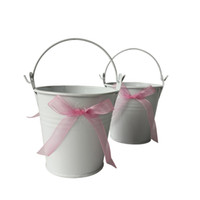 Wholesale Butterfly Buckets - D7.5*H7.5CM Free shipping Cheap butterfly Metal Buckets white Wedding Buckets Small Pails Flower pot for Wedding