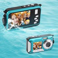sd tft lcd cmos digitale kamera großhandel-Wholesale-2.7inch TFT Digitalkamera wasserdicht 24MP MAX 1080P Doppel-Bildschirm 16x Digital Zoom Camcorder heiß neu