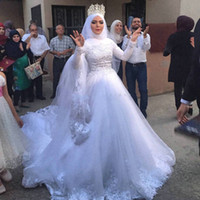 Wholesale White Shirts Puffy Sleeves - 2017 Muslim Wedding Dresses Modest High Neck Full Sleeves Custom Made Puffy Tulle Ball Gown Lace Wedding Dress Arabic