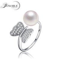 ingrosso perle originali per il matrimonio-Anelli di perle naturali 9-10mm d'acqua dolce genuini, 925 anelli d'argento sterling donne ragazza di nozze migliore regalo di compleanno anniversario rosa bianco