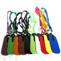 Wholesale electronic cigarette leather pouch - Portable PU Leather Lanyard Carrying Pouch Pocket Neck Sling Rope Round Corner Case Cover for EGO Electronic Cigarette DHL Free