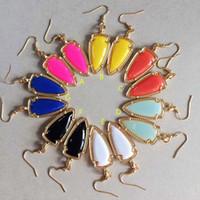 dulces pendientes de venta al por mayor-Joyería de la marca Geométrica Pendientes de Punta de Flecha Venta Caliente Cuelga El Pendiente de Colores de Caramelo Resina Llena de Oro Pendientes para las mujeres