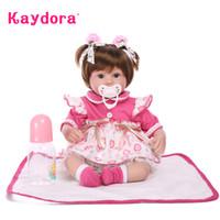 Wholesale 42 Dolls - Wholesale- Kaydora Adorable reborn 42 CM Soft Silicone Reborn Baby Doll Lifelike bebe reborn corpo de silicone toys for girls princess doll