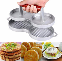 Wholesale tools for grilling - Double Aluminum Burger Press Non Stick Hamburger Maker Beef Meat Patty Mold for BBQ Grill Effient Kitchen Gadget Tool OOA3518