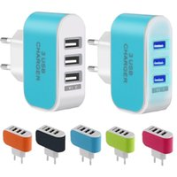 Wholesale usb travel power plug adapter resale online - US EU Plug USB Ports Wall Charger V A LED Adapter Travel Convenient Power Adaptor with triple USB Ports For iphone for samsung
