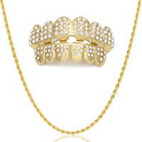 Wholesale Hip Hop Caps China - Hip Hop Custom Fit Gold Color Teeth Four Hollow Open Face Gold Teeth GRILLZ Caps Top & Bottom Grill set with Rope Chain