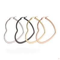 Wholesale Love Hoop Plating Earrings - Fashion Heart Love Hoop Earrings For Women Rose Gold Earring Elegant Big Hoop Charm Wedding Jewelry Size 40mm 50mm 60mm