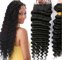 Wholesale Hair Weave Sale - On Sale Brazilian Remy Weave 1Pcs Lot Unprocessed Hair Bundles Virgin Human Hair Extensions Natural Black Deep Wave Kinky Curly Hair