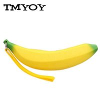 Wholesale Banana Keychain - Wholesale- TMYOY NEW Hot Silicone 3D Banana Coin Pencil Case Wallet Bag Purse Key Keychain Cosmetic Jewelry Gifts Waterproof Clutch DB5688