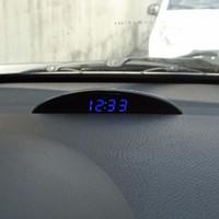 12v uhren autos großhandel-Neue Multifunktions Schwarz 12 V LED Luminous Digital Auto Tischuhr Voltmeter Thermometer Zeit Automobil Elektronische Tischuhren