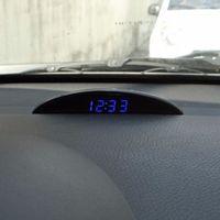 Wholesale Led Digital Car Thermometer Clock - New Multifunction Black 12V LED Luminous Digital Car Desk Clock Voltmeter Thermometer Time Automobile Electronic Table Clocks