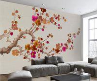 kulisse chinesisch großhandel-Moderne neue chinesische Art Plum Blossom TV Backdrop Wandbild 3D Wallpaper 3d Tapeten für TV Hintergrund