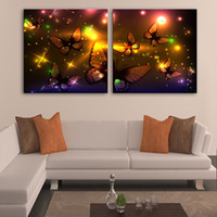 Wholesale Wholesale Led Lighted Pictures - Modern Art The Golden Butterfly LED Canvas Print Wall Art Radiance Lighted Canvas Decoration For Living Room Bedroom