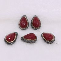 Wholesale Onyx Faceted Bead - Fashion Drop pendant beads red onyx stone faceted side hole beads handcrafted Druzy charms Gems jewelry finding for women 1742