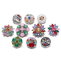 Noosa Mixed Multi Colorful Crystal 18mm Snap Buttons Bijoux Fashion Lots 10 Design Flower Snaps Fit DIY Snap Bracelets Bangles