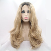 Haute Qualité Nouveau Bouncy Layered Ombre Miel Blonde Short Brown Roots Bodywave résistant à la chaleur synthétique Hair Lace Front Wigs