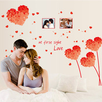 Wholesale Photo Adhesive Decal - 50*70cm Love Heart Grass with Photo Frame Wall Stickers DIY Art Decal Removeable Wallpaper Mural Sticker for Bedroom Living Room AY7176
