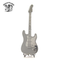 Wholesale 3d Puzzle Guitar - Wholesale-3D Metal Puzzles Miniature Musical Instruments Model DIY Jigsaws musical Toys Gift Rock BASS GUITAR