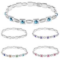 bracelets de diamant bleu achat en gros de-5 Couleurs Blanc Bleu Violet Cristal Diamant Charme Bracelet Femmes Bracelet Manchette Bracelet Bijoux De Mode Cadeaux DROP NAVIRE 162292