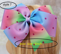 Wholesale Pageant Hair Bows - 8style available 8inch JoJo Siwa Large Green Sequin Signature Hair Bow Dance Cheerleader Pageant 24pcs no paper card